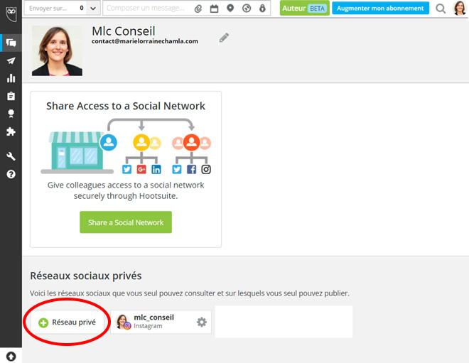 Hootsuite réseau privé