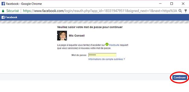 Valider sa connexion a facebook avec Hootsuite