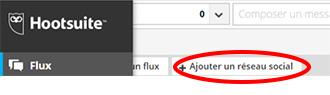 Ajouter un reseau social Hootsuite a partir de la rubrique « Flux »