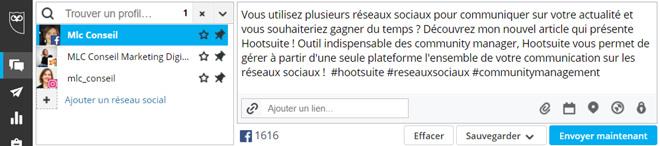 boite de dialogue Hootsuite