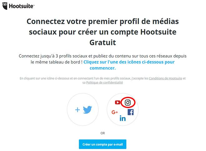 Connecter votre premier réseau social a l'interface Hootsuite