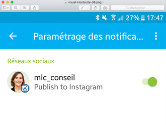 Selectionner le compte Instagram