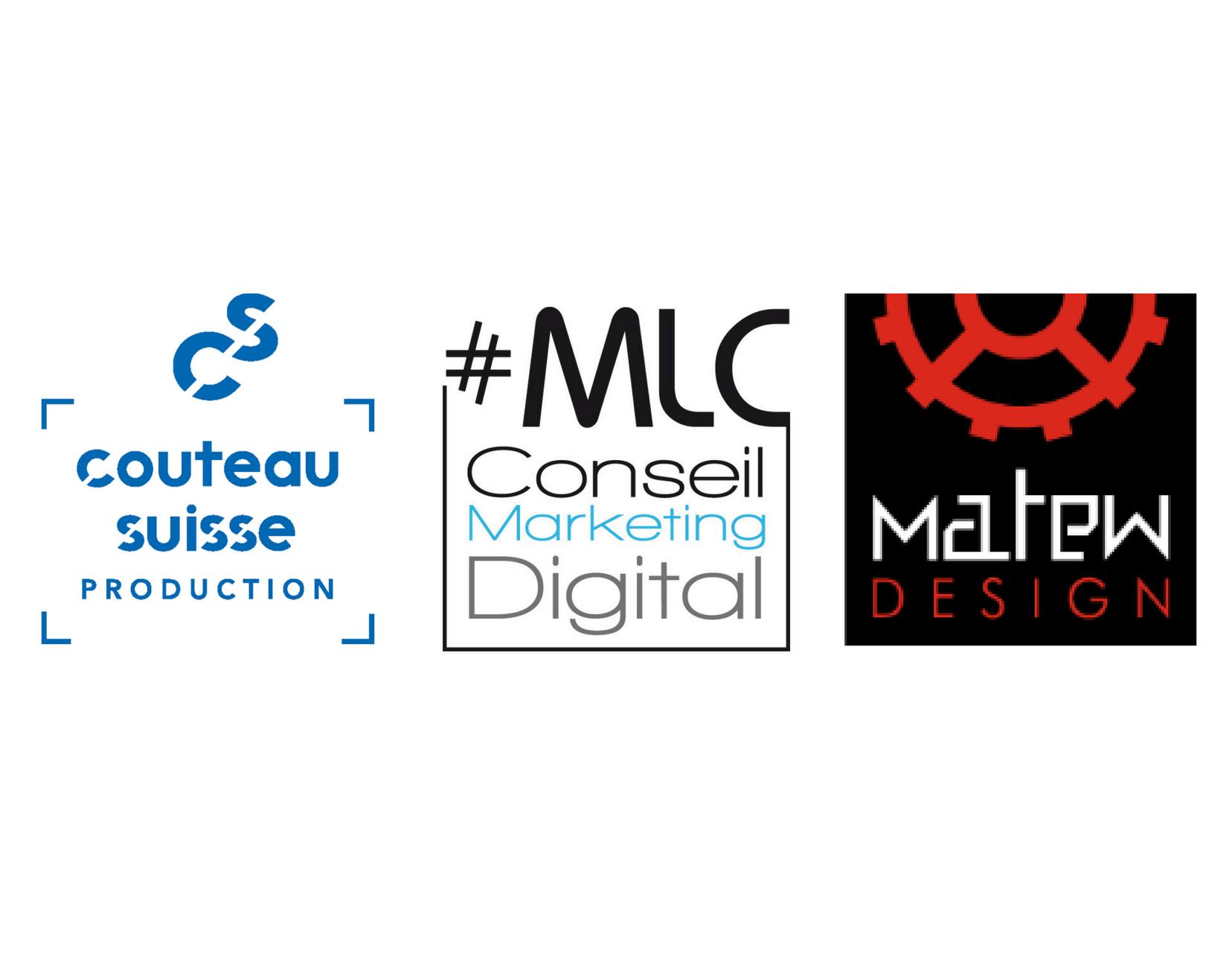 logos MLC Conseil Matew design et Couteau suisse production
